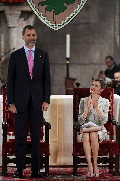 King Felipe VI of Spain and Queen Letizia of Spain attend the 'Principe de Viana 2015' award and Tribute to the Navarra Old Royals at the San Salvador de Leyre Monastery on June 10, 2015 in Navarra, Spain.