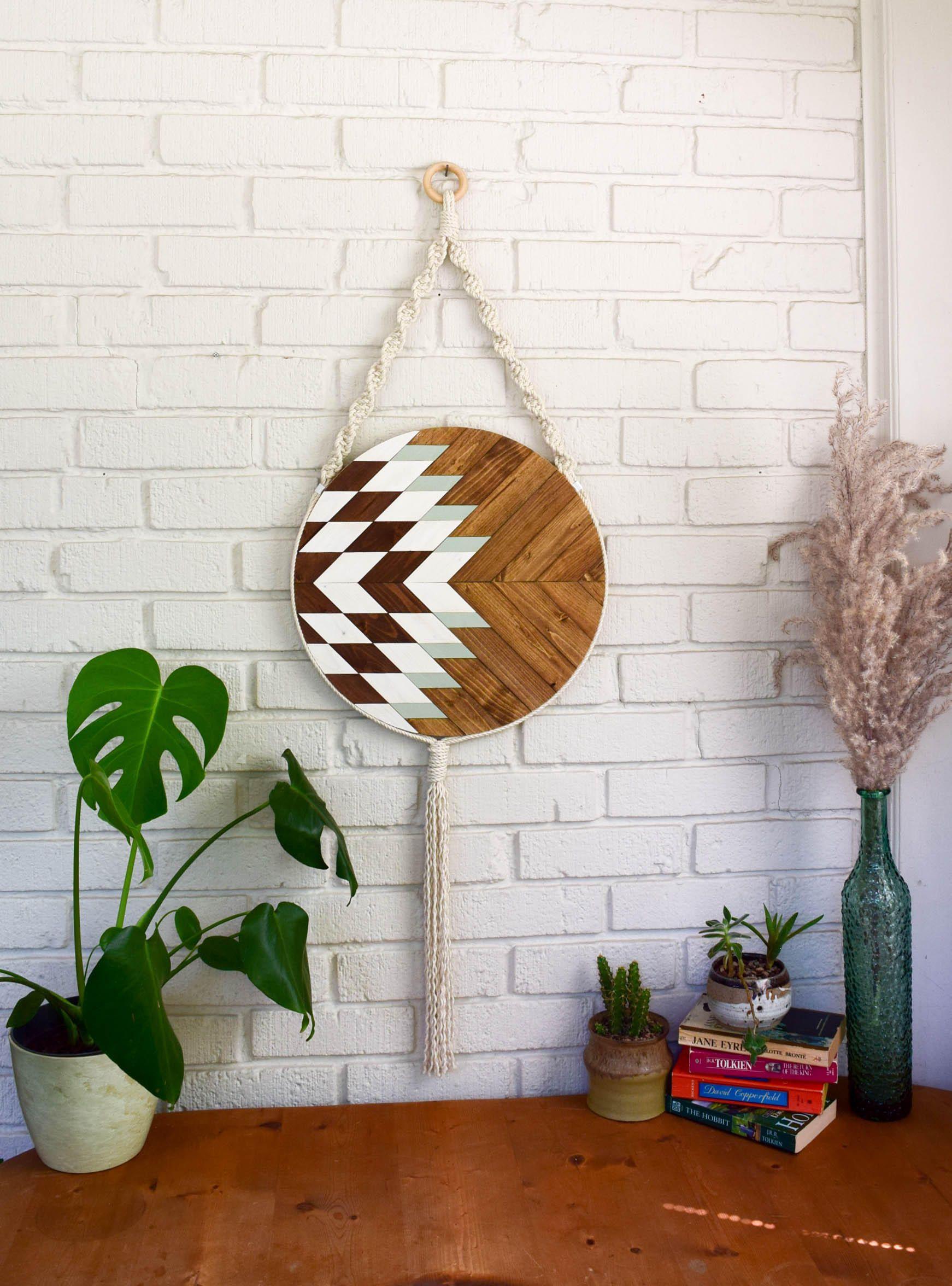 Elara wood wall art macrame wall hanging boho wood art round