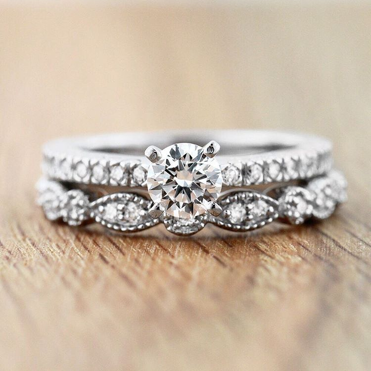 d180fbadfb4e15 LOVE this delicate and dainty wedding set for the holiday season! The  Marilyn Engagement Ring and Amore Wedding Band