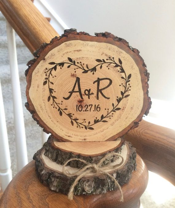 Handmade Wood Cake Topper for Wedding, Heart Engraved Cake Top, Rustic Decoration Personalized, Wooden Slices