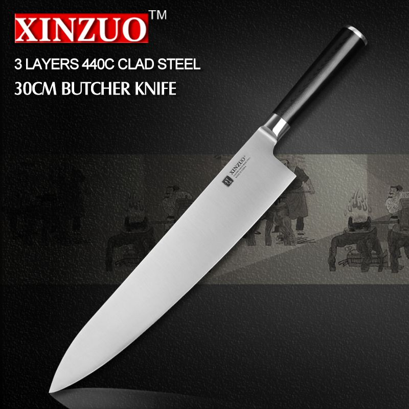 Xinzuo 12 Inch Butcher Knife 3 Layer 440c Clad Steel Chef Knife Kitchen Knives G10 Handle Japanese Cleaver Knife Free Shipping