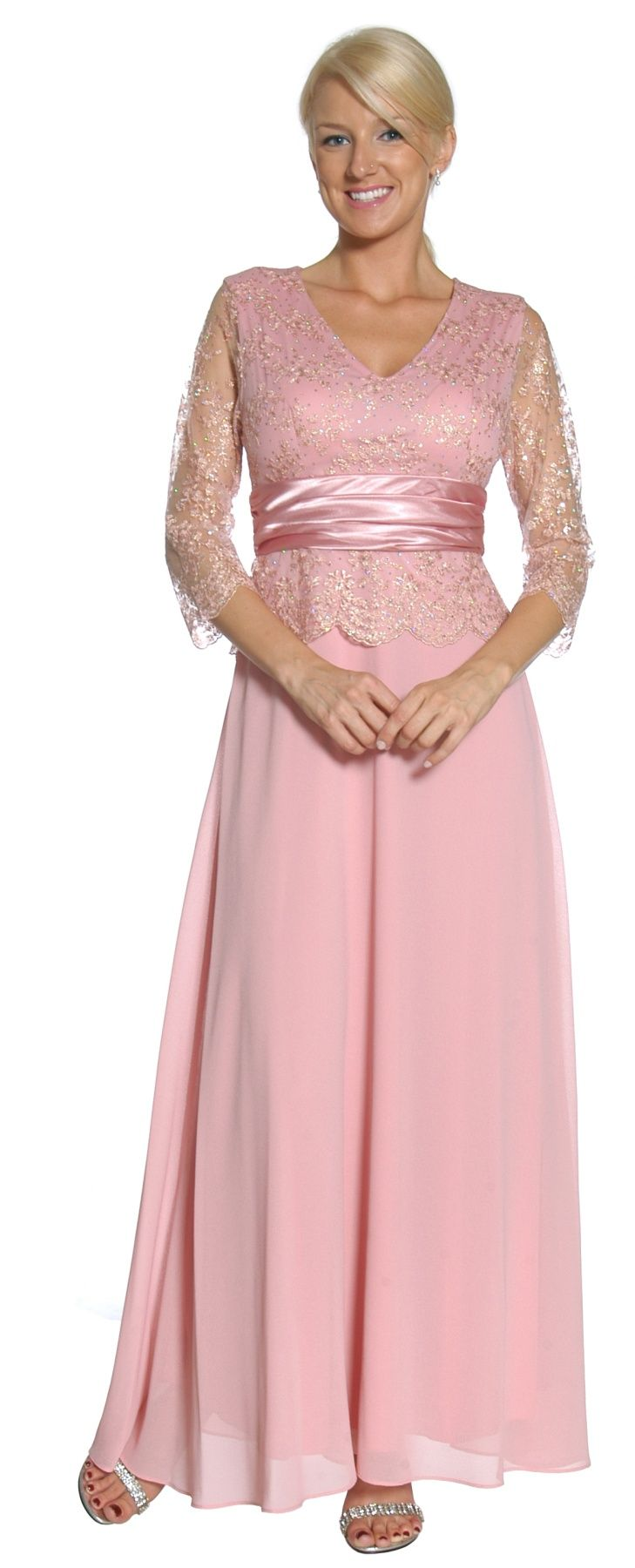 Dusty Rose Mother of Groom Dress 3/4 Lace Sleeve V Neck Empire Waist ...