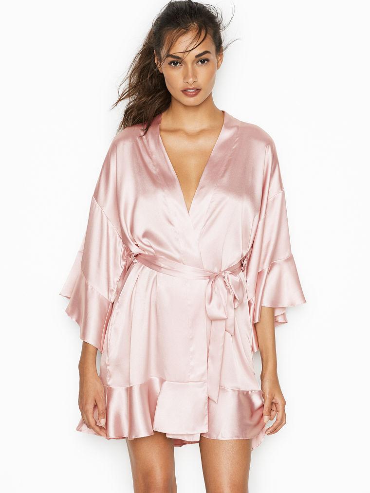 2973eb7fcf Very Sexy Flounce-sleeve Kimono Satin Kimono