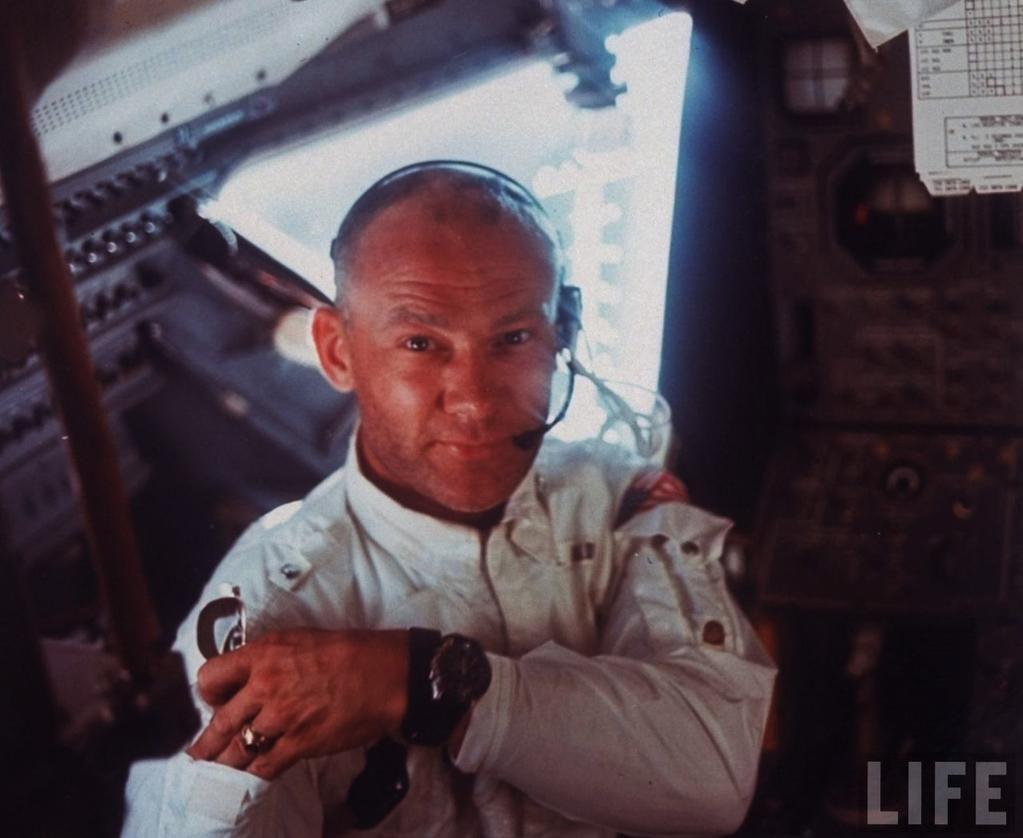 Astronaut Edwin E. Aldrin inside Apollo 11 Lunar Module during Lunar landing mission., 1969