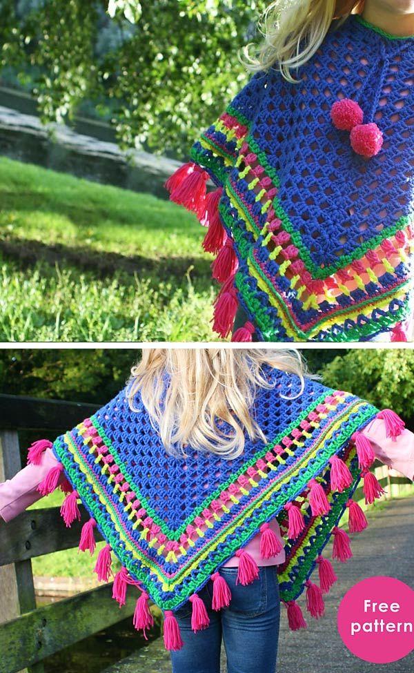 Kids Poncho Crochet Free Pattern #crochetponchokids