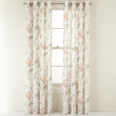 MarthaWindow™ Faded Floral Grommet-Top Sheer Panel - JCPenney
