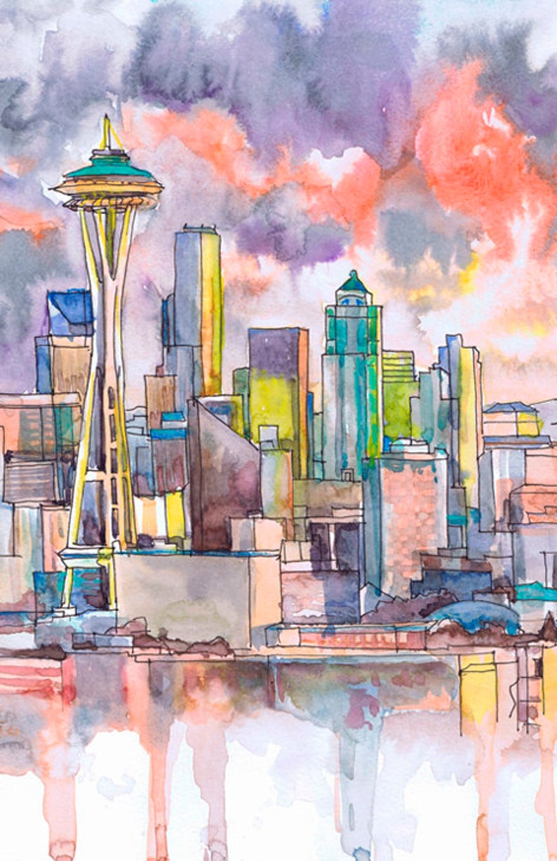 Seattle Wall Art Skyline Watercolor Painting Print Landscape Etsy In 2020 Painting Art Painting Prints