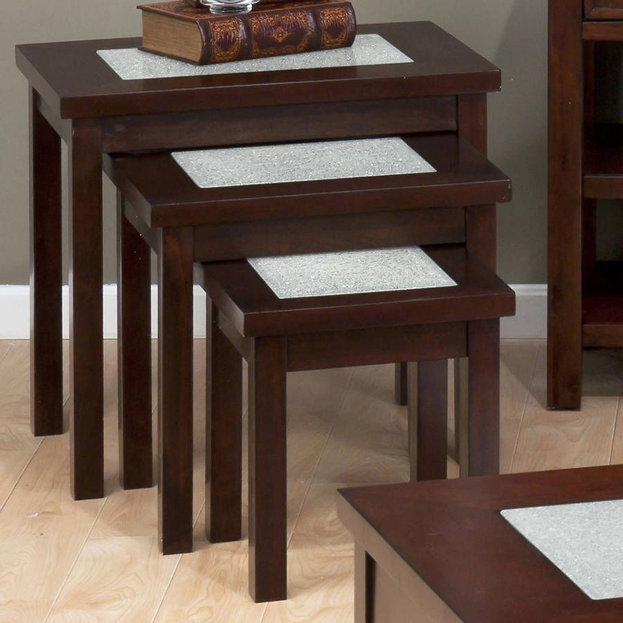 Chadwick Transitional Nesting Tables W Crackled Glass Inserts