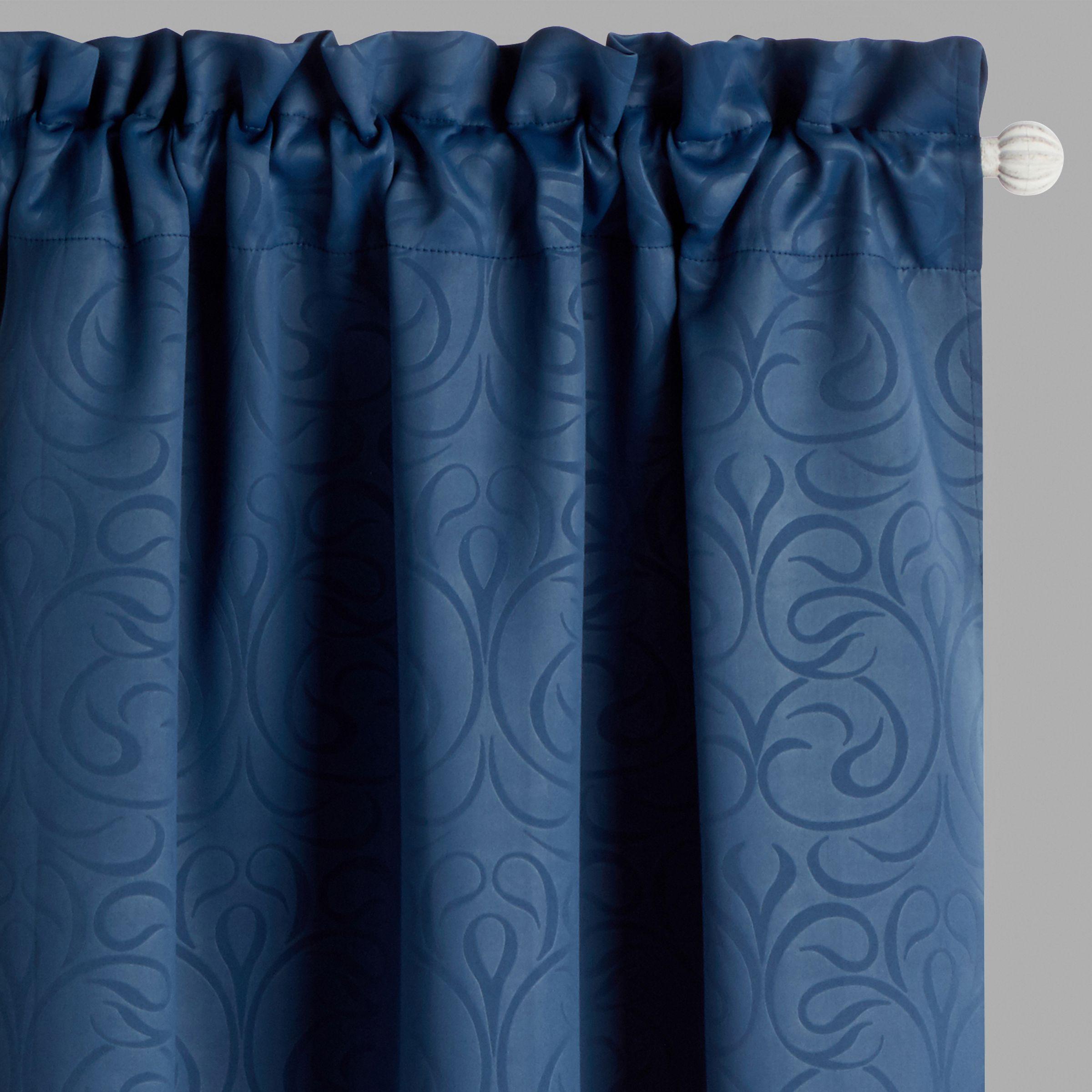 Scroll Embossed Room Darkening Window Curtains Set Of 2 Embossed
