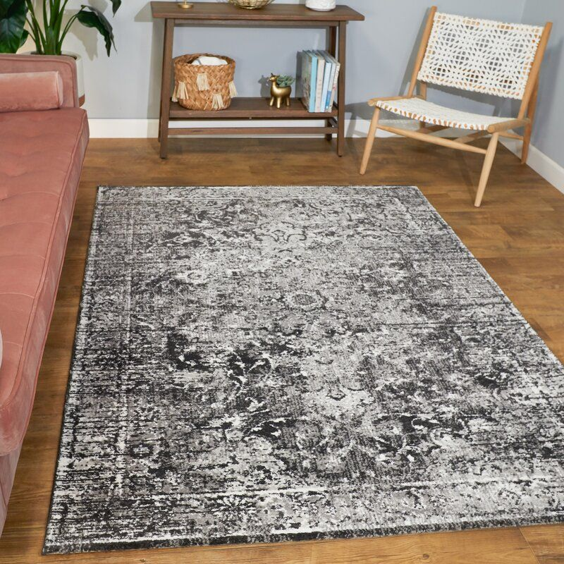 Ventanna Power Loom Black Gray Rug Birch Lane Black And Grey Rugs Area Rugs Oriental Area Rugs