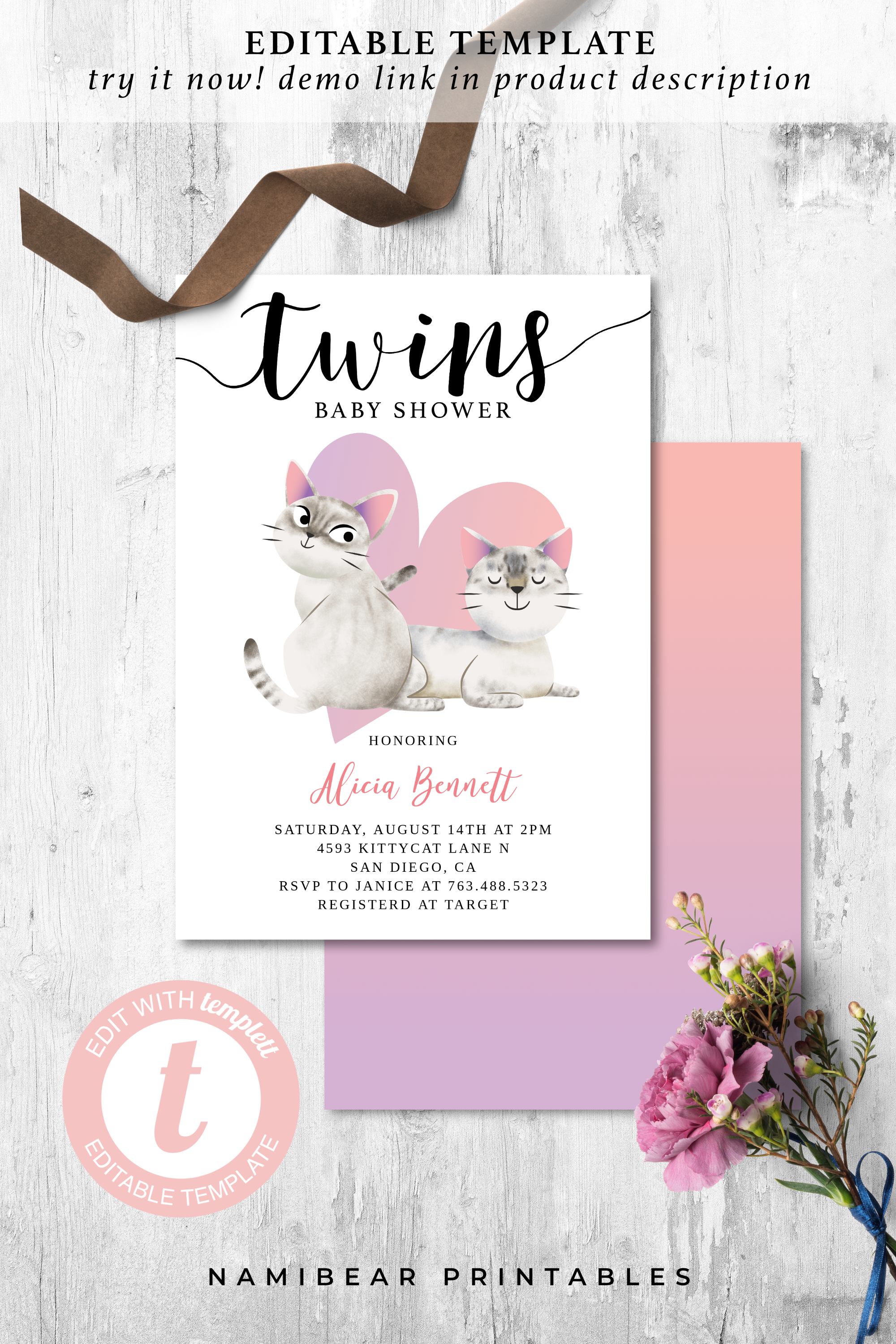 Printable Kitty Cat Theme Twins Baby Shower Editable Twin Girls Kitten Baby Shower Invite Instant Download Template Invitation Card In 2020 Twin Girls Baby Shower Invitations Baby Shower Invites For Girl
