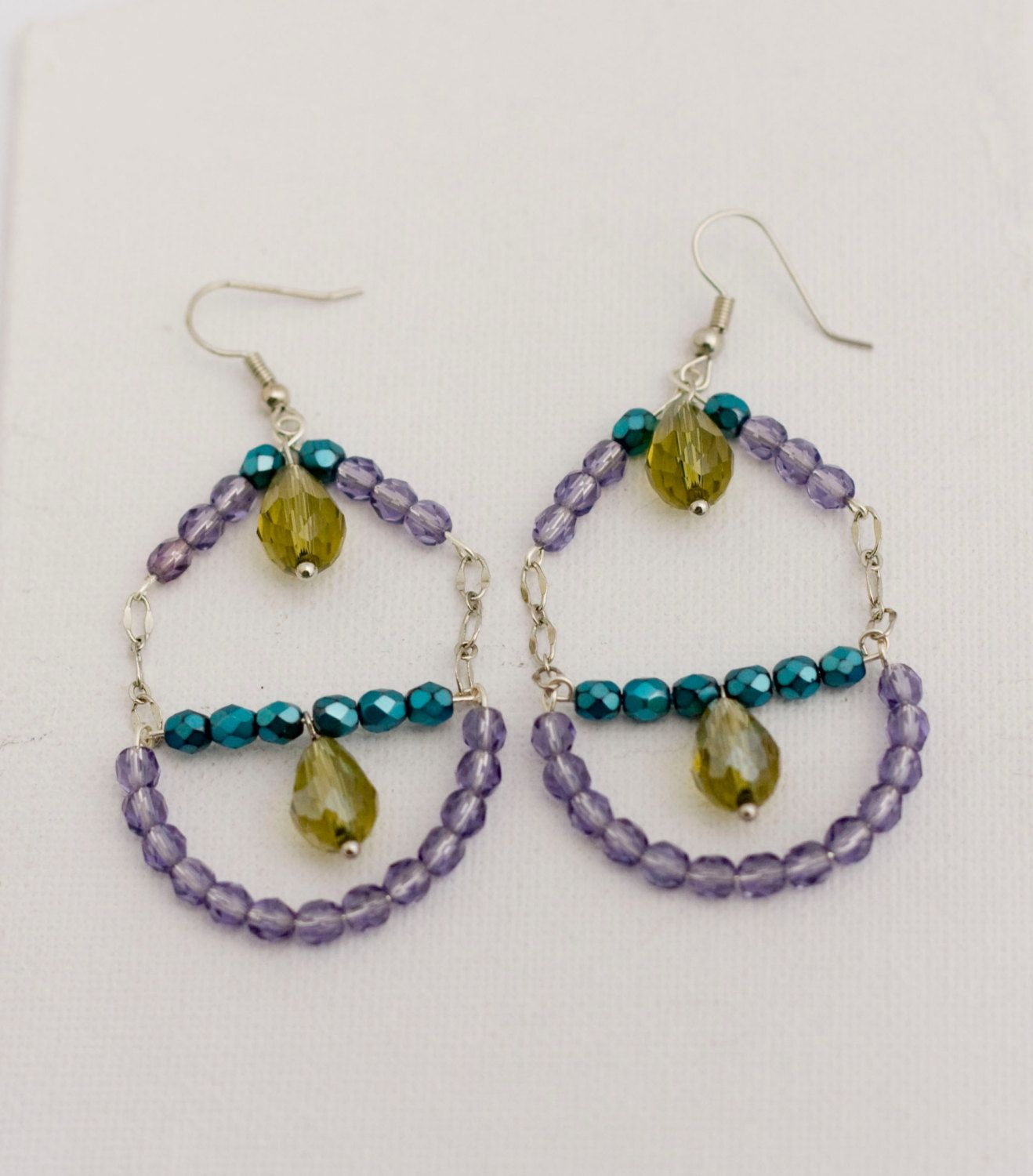 statement chandelier earrings, long dangle earrings, with purple and teal half crystals and citrine svarowski drops by MICETTESGARDEN on Etsy