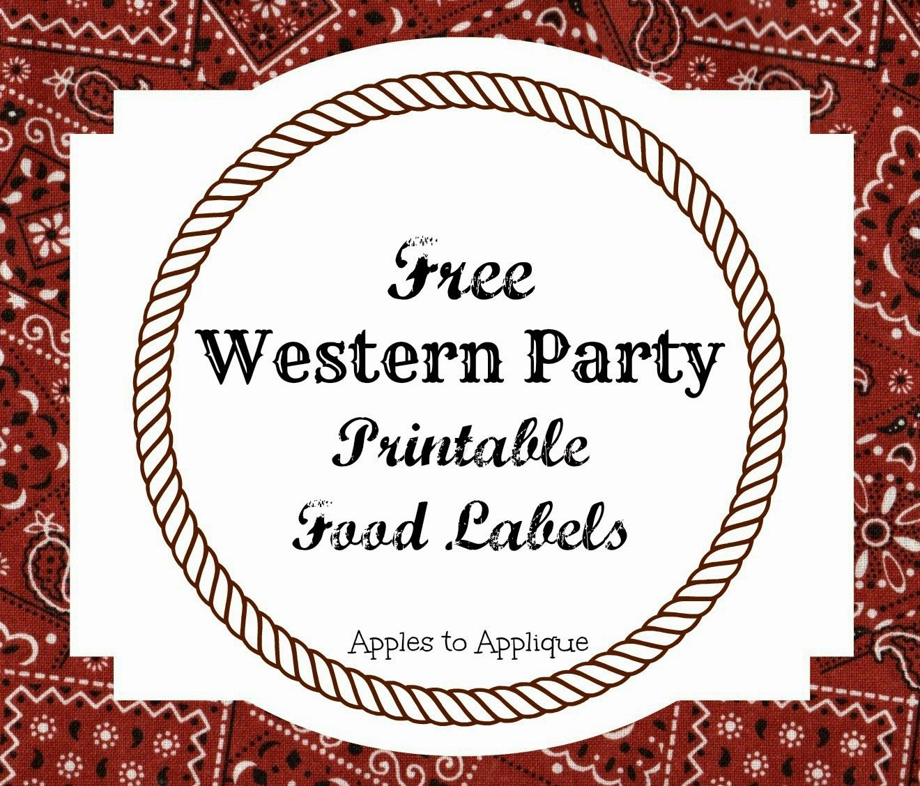 FREE Printable Food Labels for Western-Themed Party | Apples to ...