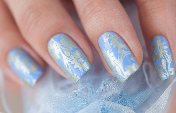 Unas Decoradas Color Azul Celeste Nail Art Pinterest Nails