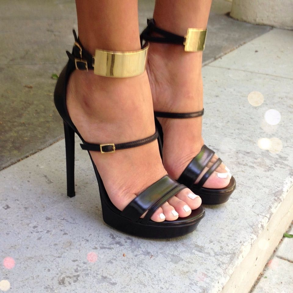 Seriously loving the ankle cuff trend. Yves Saint Laurent heels.