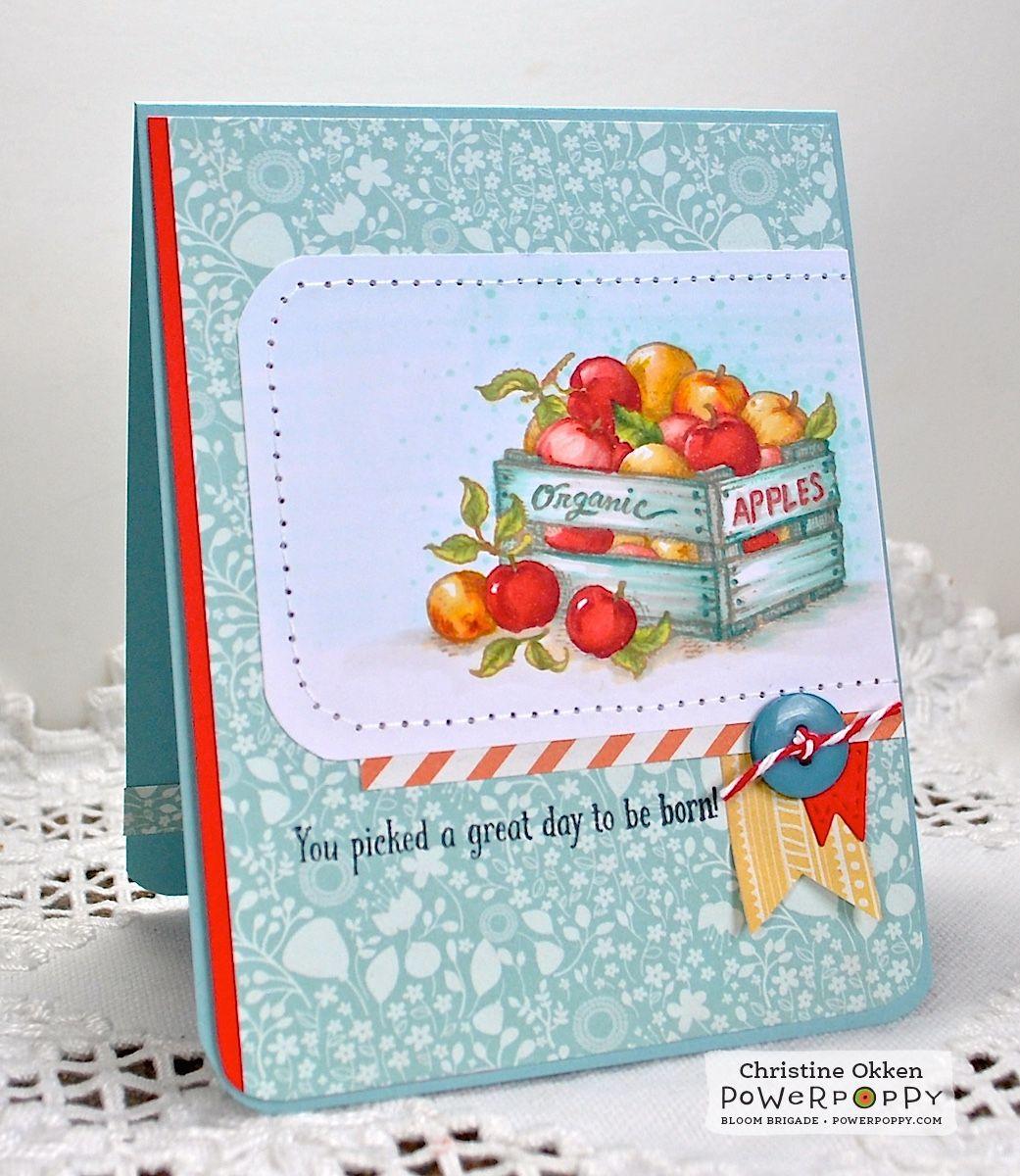 ChristineCreations: Birthday Apples. Farmers Market  stamp set by Power Poppy.