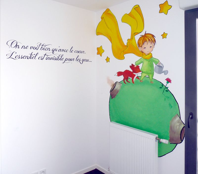 wall painting the little prince, baby boy bedroom