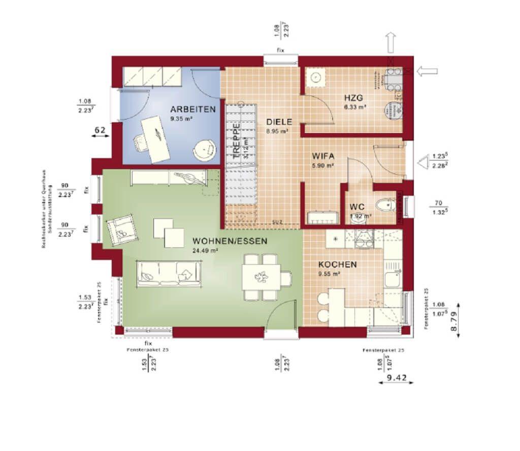 GRUNDRISS MODERNE STADTVILLA_ Haus Evolution 136 V2 Bien Zenker ...