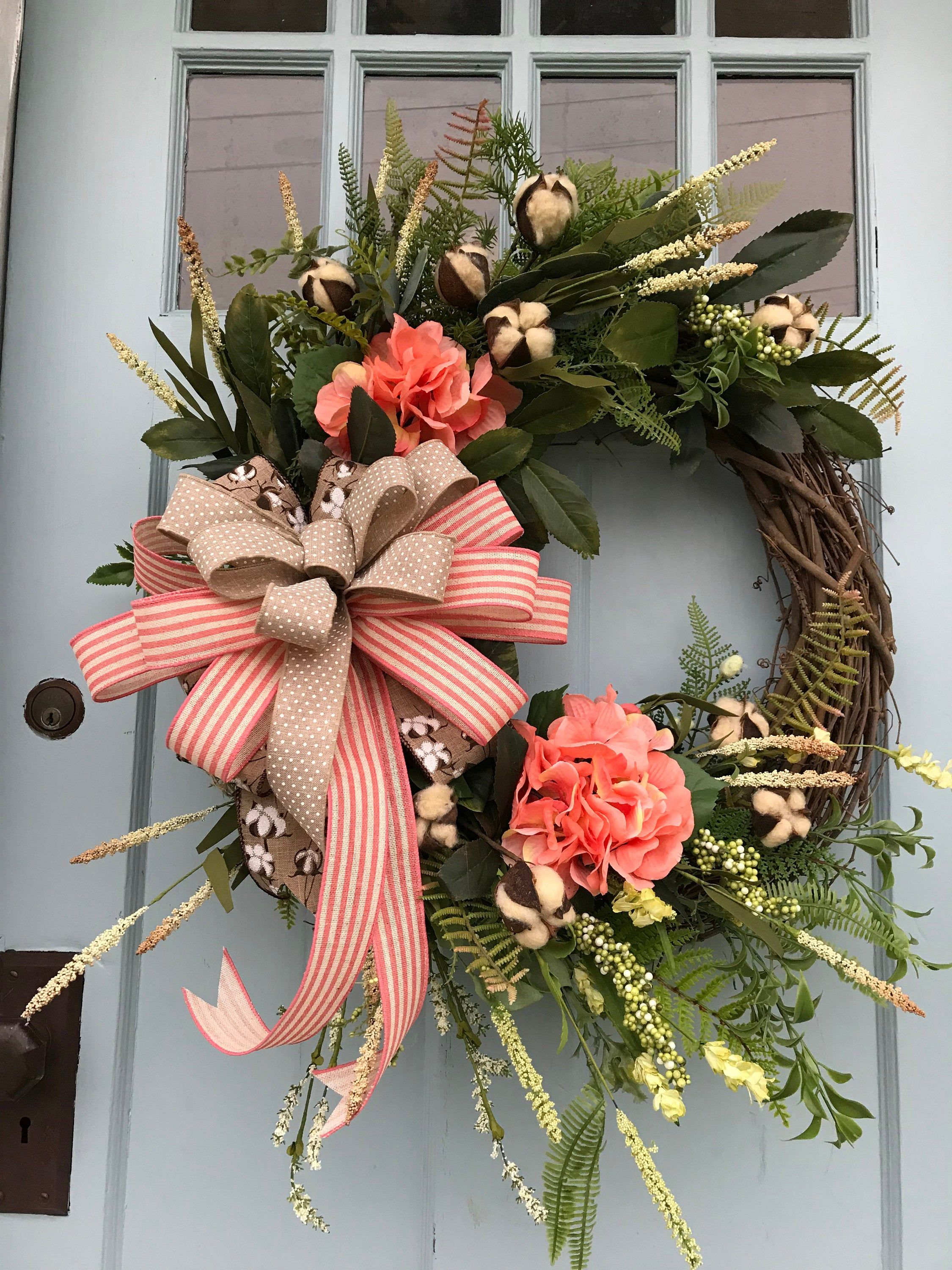 Photo of Beautifully elegant coral and green flower farm vine wreath for door. Wreaths, wreaths for front door, farmhouse, Christmas