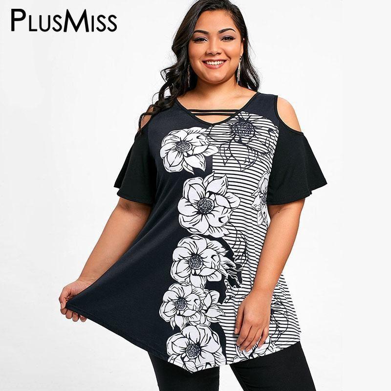 a17f1c3773fd34 PlusMiss Plus Size 5XL Summer Floral Striped Print Tops Women Clothes Big  Size Sexy Black Off Shoulder Loose Long Blouse 2018