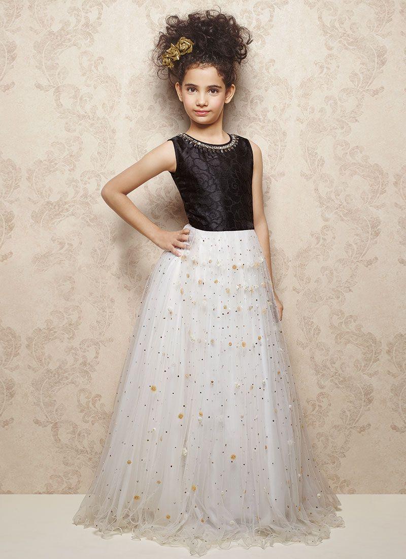 Buy Doll Black N White Net Kids Gown, Kids Wear Girls Online