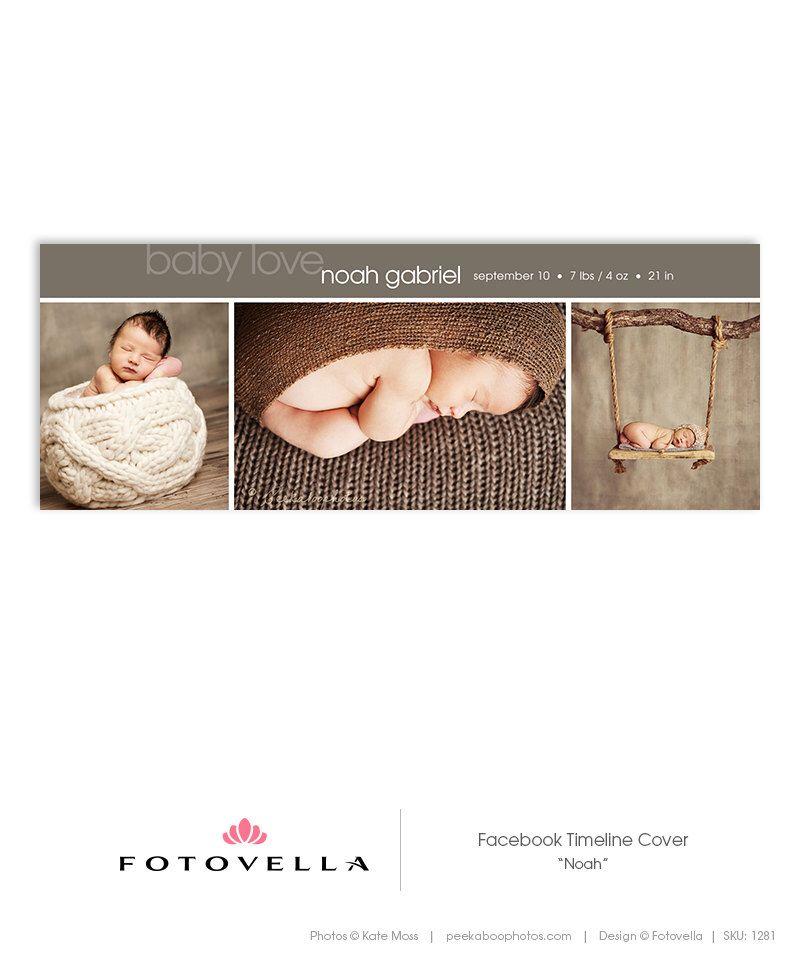 Newborn Birth Announcement Baby Facebook Timeline Cover Template – Facebook Birth Announcements
