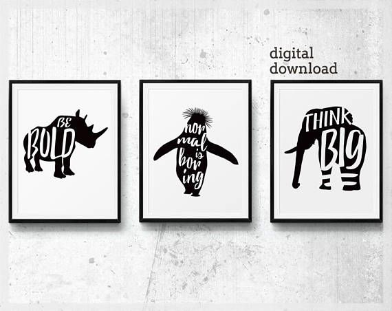Poster set of 3 wall art mens office decor set of three prints printable positive typography minimalist for office black and white art