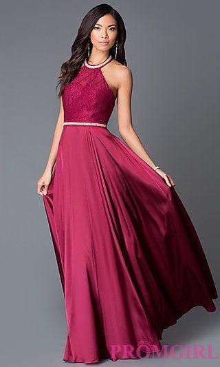 e473c7ec884 Long Burgundy Prom Dress With Beaded Sleeveless Halter at PromGirl.com