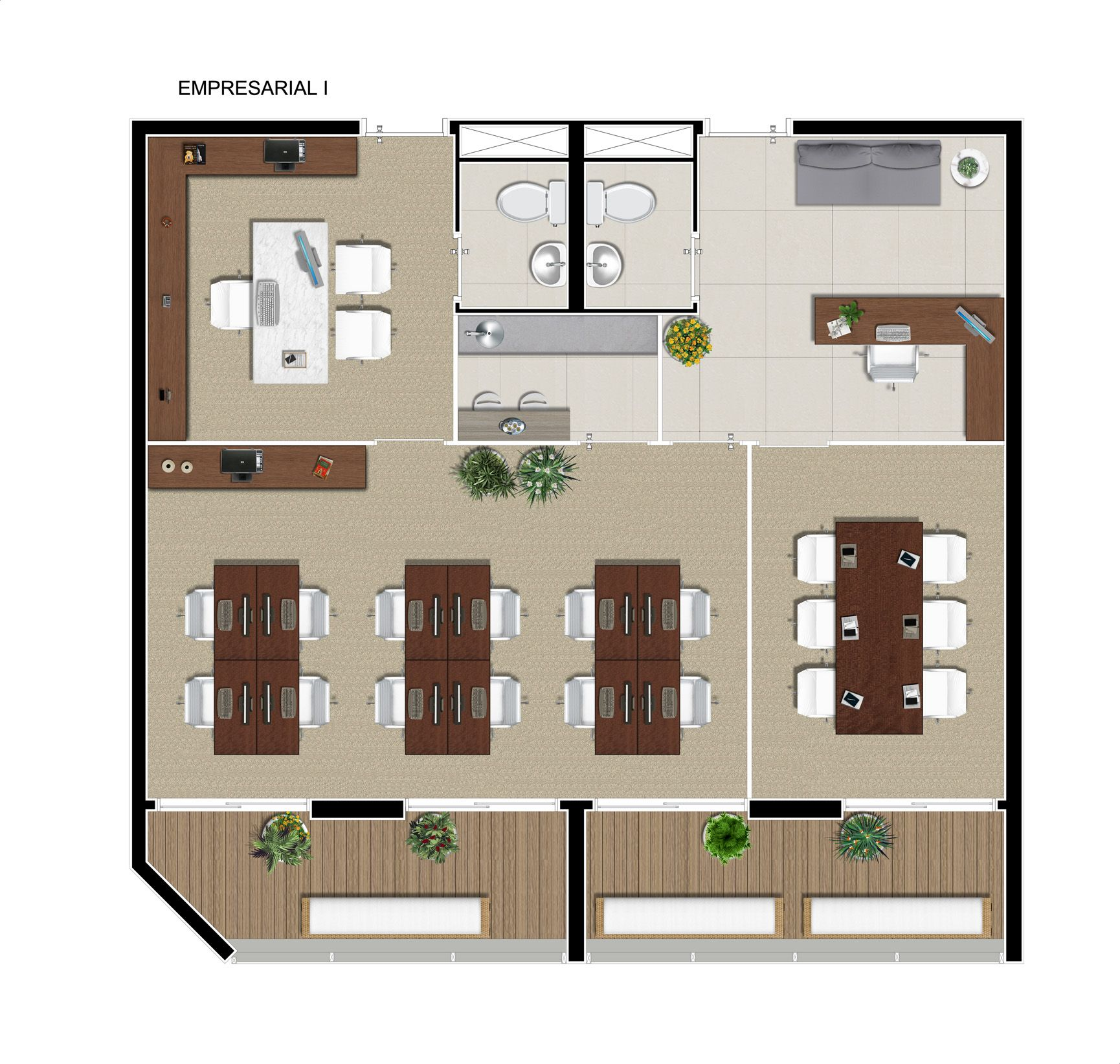 Planta com varia o de uso da jun o de 2 salas studio for Planos de oficinas pequenas