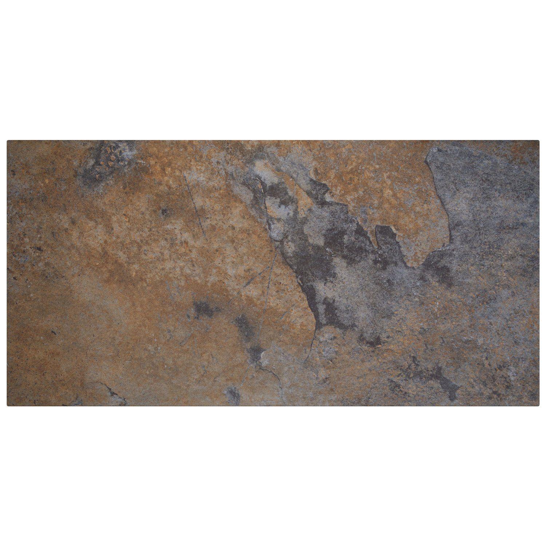 Carrelage Sol Et Mur Noir Effet Pierre Day L 30 X L 60 Cm