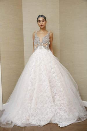 Glam Aline Wedding Dress With Embellished Bodice Plunging - Wedding Dresses Virginia Beach