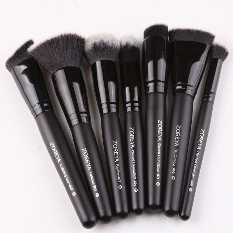 91e263e924fc4 Zoreya marca 7 unids lote negro pinceles set para las mujeres cosméticos  herramienta cepillos de