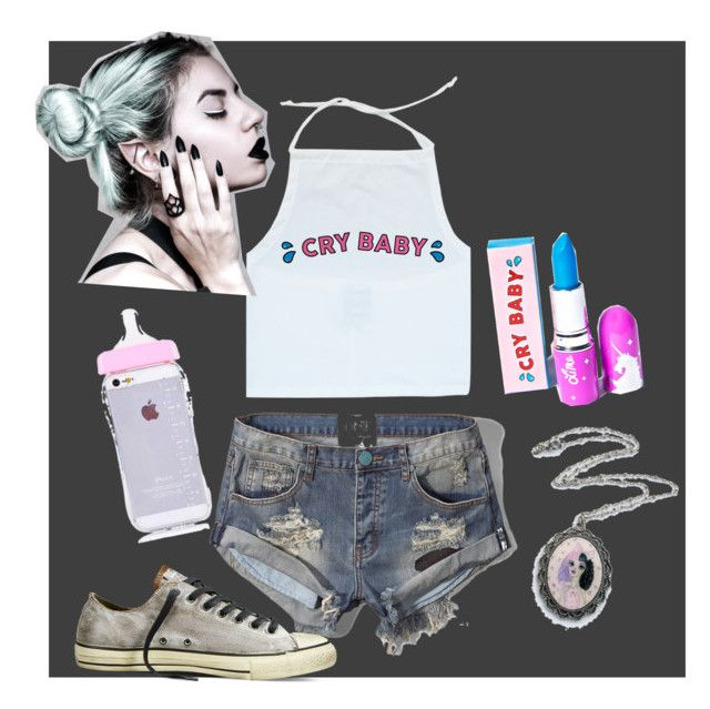 """""""Melanie Martinez"""" by sassymint ❤ liked on Polyvore featuring Abercrombie & Fitch, Converse, Lime Crime and Dollhouse"""