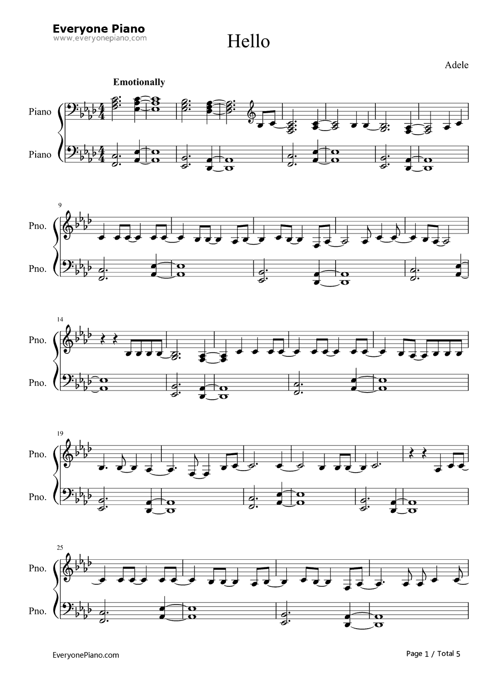 Hello piano version adele stave preview 1 piano sheet music hello piano version adele stave preview 1 hexwebz Image collections