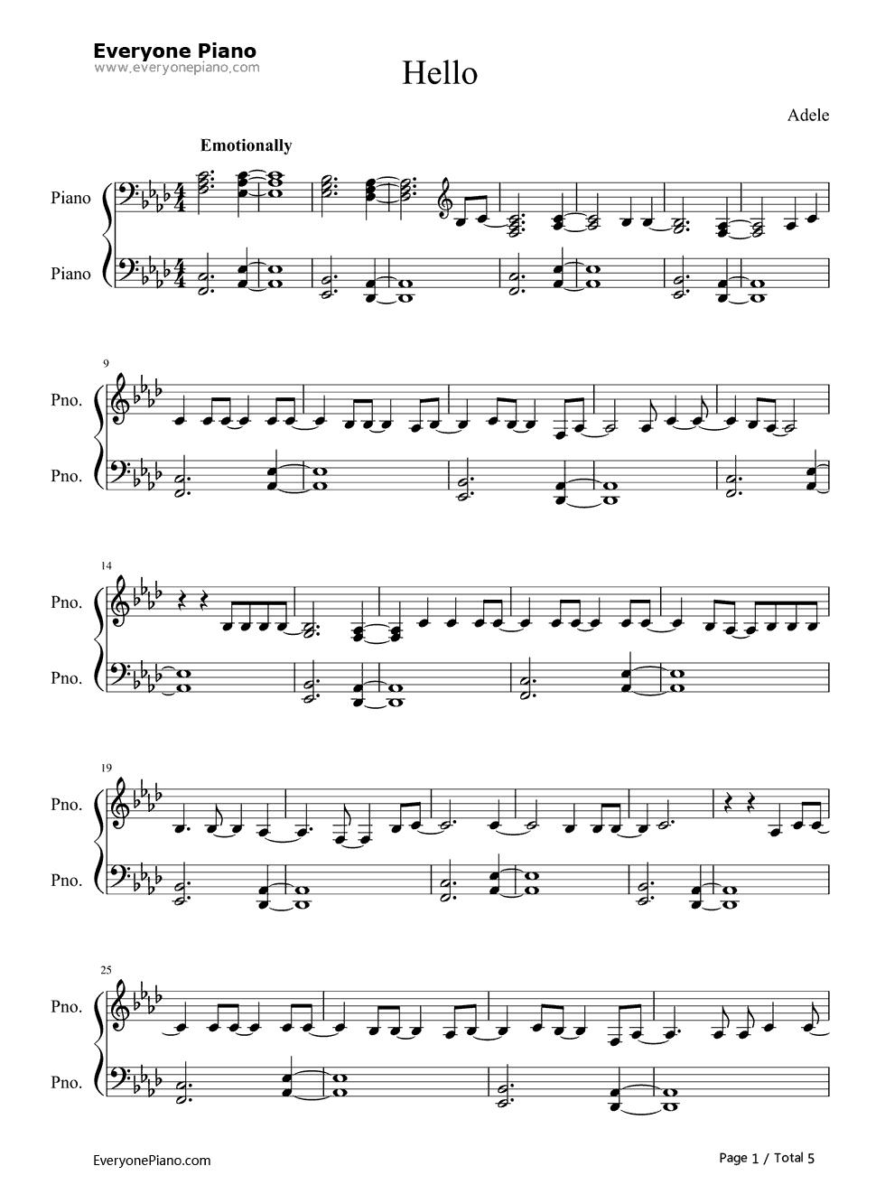 Hello-Piano Version-Adele Stave Preview 1
