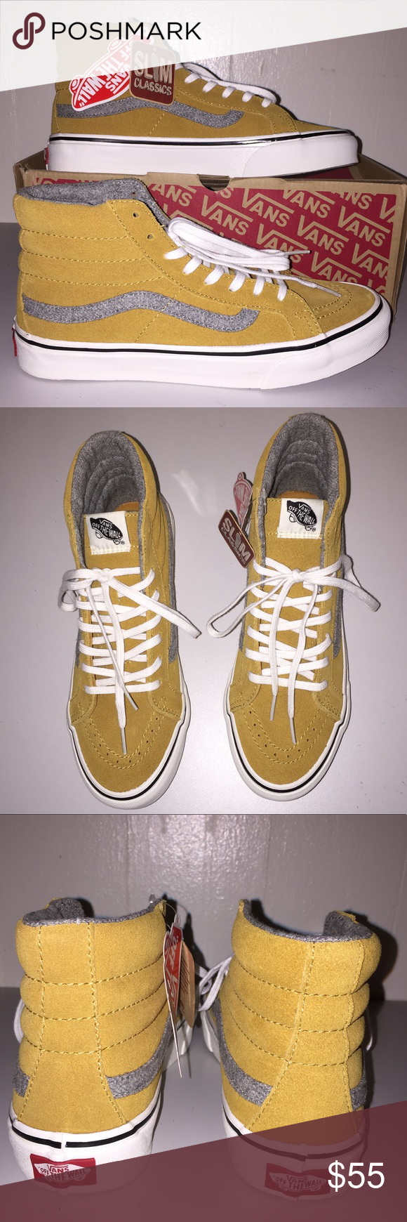 310a09ce64 NWT Vans Vintage Suede SK8-Hi Slim Amber Gold Beautiful amber gold color.  Very cute and comfy shoes. Suede leather upper. Unisex M 6.5 W8.0 Vans Shoes  ...