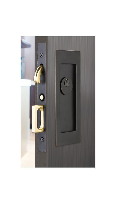 Emtek 2113 7 1 4 Height Keyed Entry Pocket Door Mortise Lock From The Modern Re Oil Rubbed Bronze Pocket Door Lock Keyed Entry Mortise Pocket Door Hardware Pocket Door Lock Pocket Door Handles