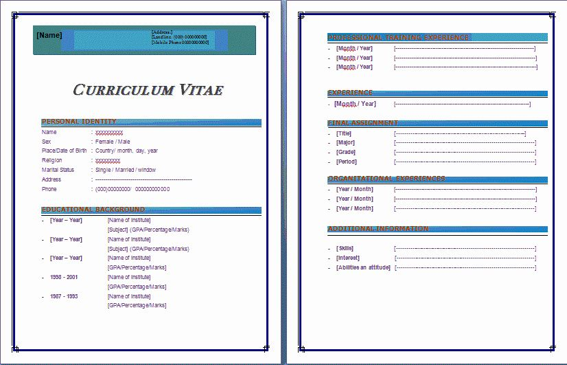 microsoft word 2003 resume templates fresh 9 cv format ms