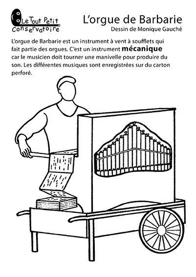 Coloriage orgue de barbarie dessins coloriages d 39 instruments de musique instruments - Coloriage pierre et le loup ...