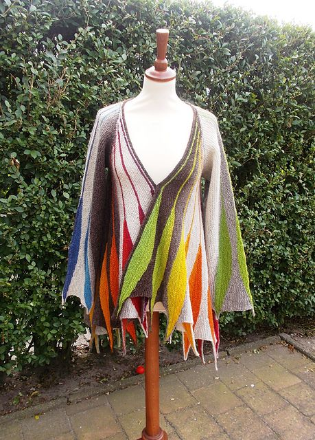 """""""Spring Plumage"""" is a long A-Line cardigan to fit over long tunics."""