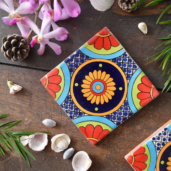 Fiesta Mexican Tile Coaster Set 4 Di Fiveacresgoods Su Etsy