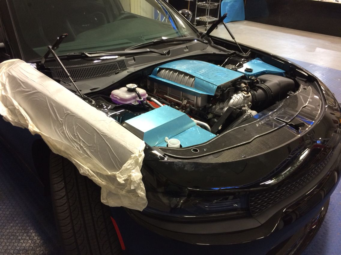 Dodge charger engine bay under development for the charger hellcat