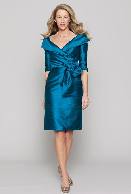 b496705185 Peacock dupioni silk portrait collar side pleated fitted dress with 3