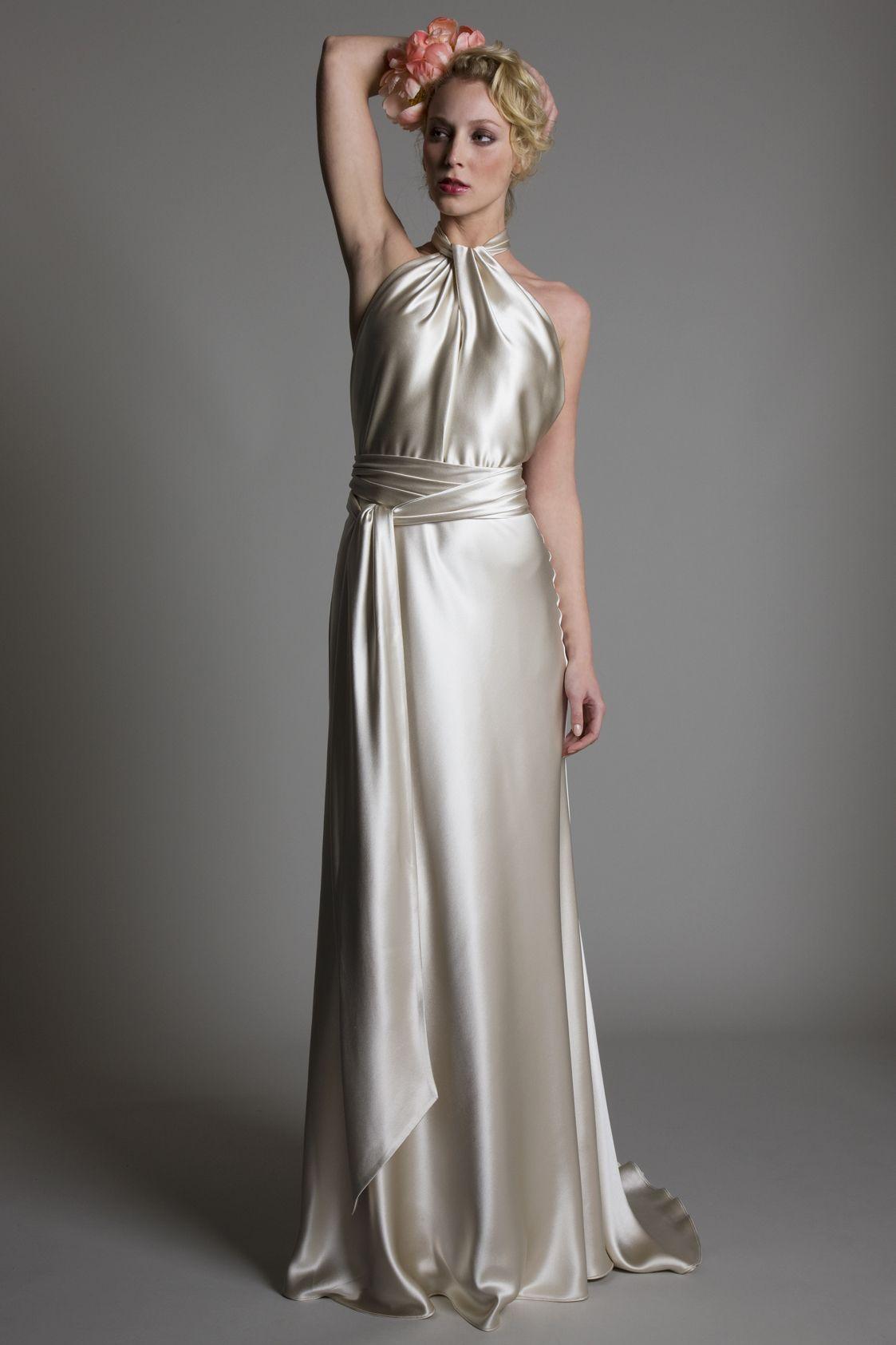 Preloved pronovias wedding dresses  Claudia satin halter neck bridal wedding dress with satin belt