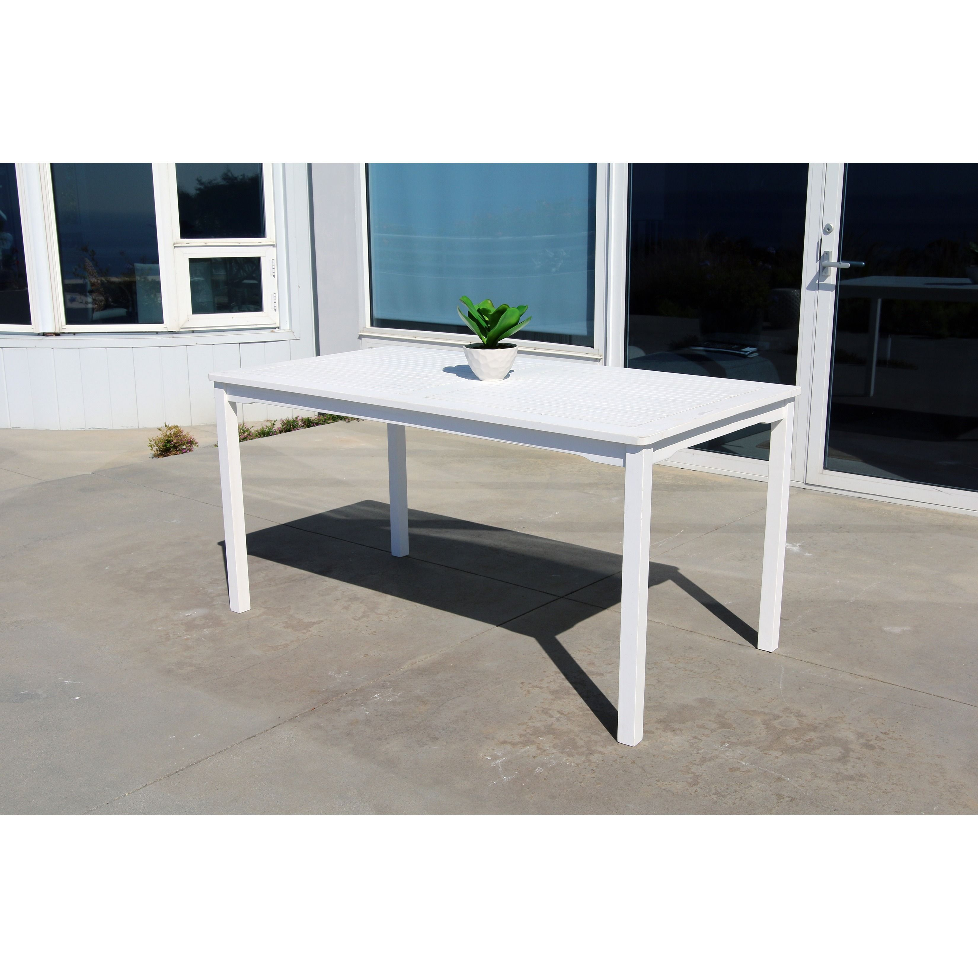 Bradley Outdoor Wood Rectangular Dining Table (Outdoor Furniture), White, Patio Furniture