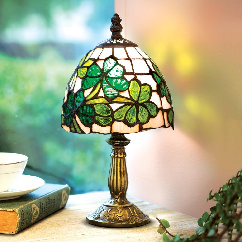 Small Shamrock Lamp Irish Decor Tiffany Style Lamp Shabby Chic Lamps