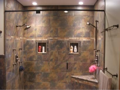 Walk In Shower Love The Two Shower Heads And Two Areas To Put