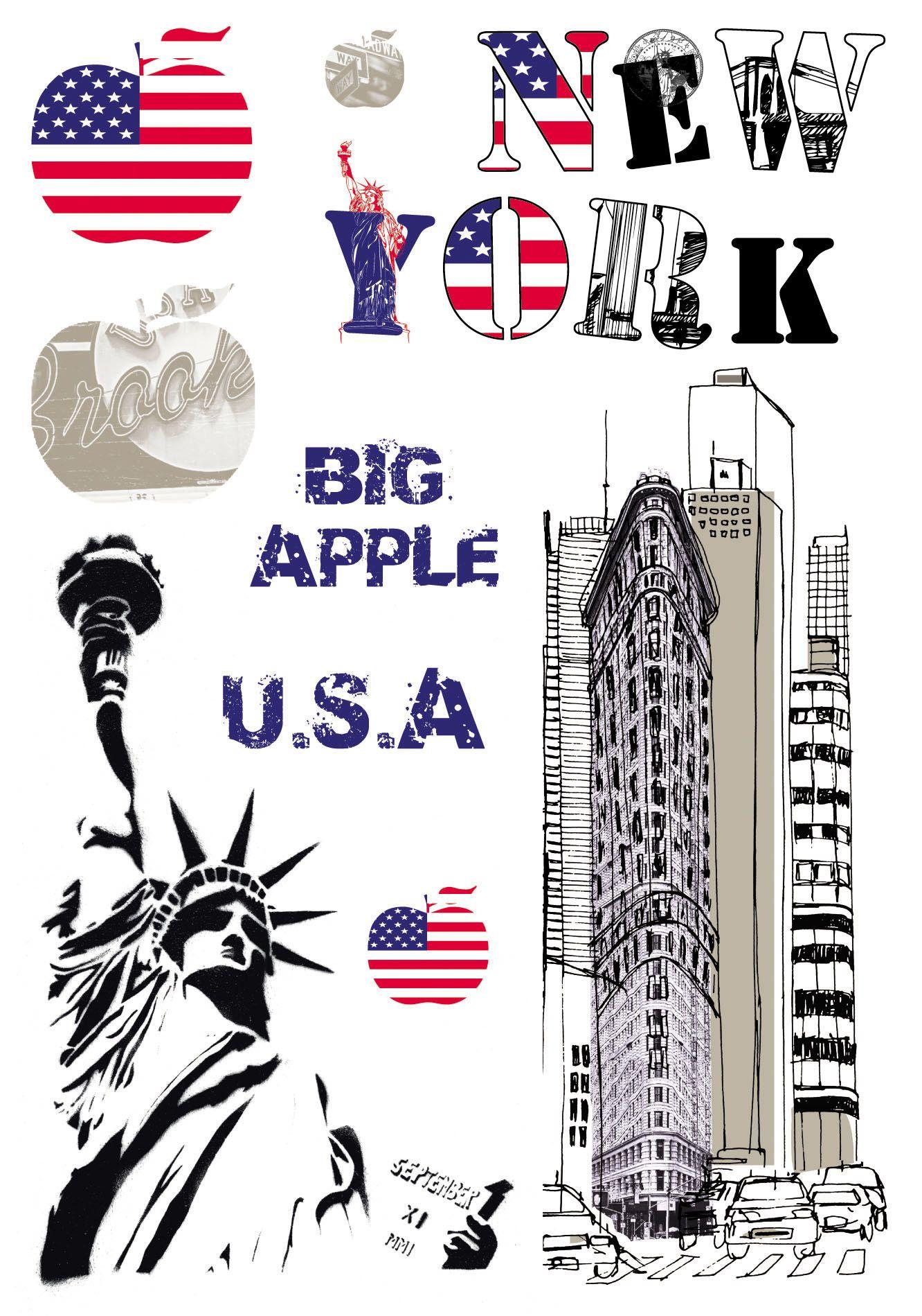 stickers muraux new york de la marque cas lio. Black Bedroom Furniture Sets. Home Design Ideas