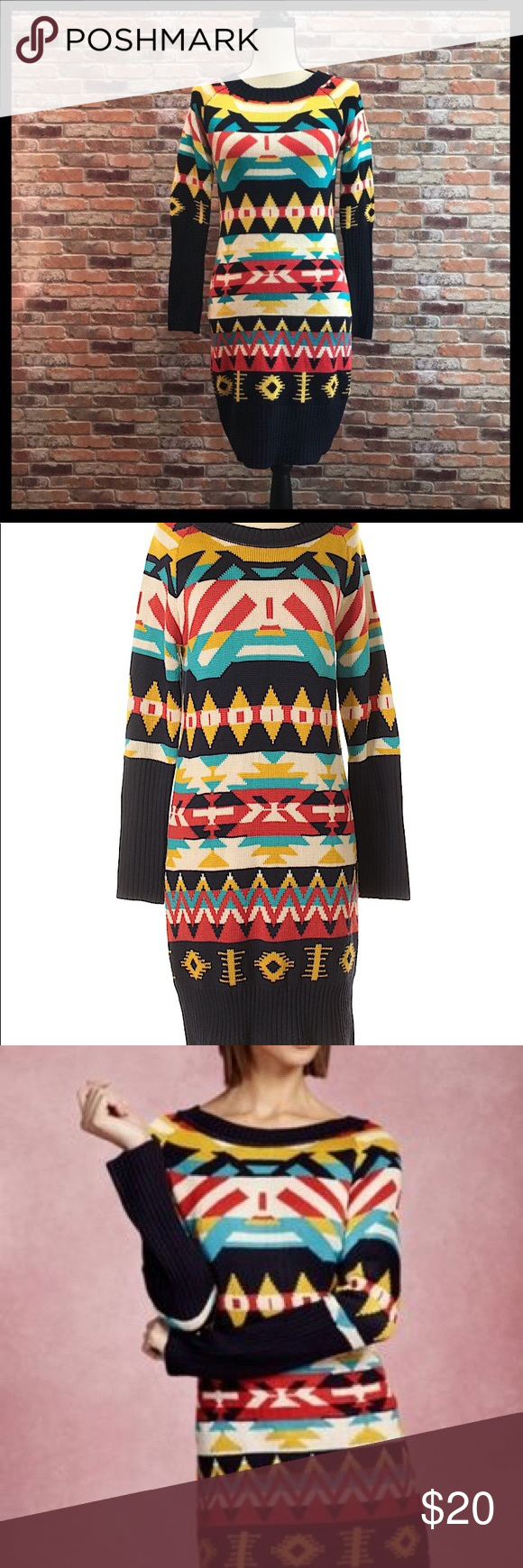 e1e26ad960 JessicaSimpson dark blue Aztec print sweater dress Jessica Simpson dark  blue Aztec print sweater dress.
