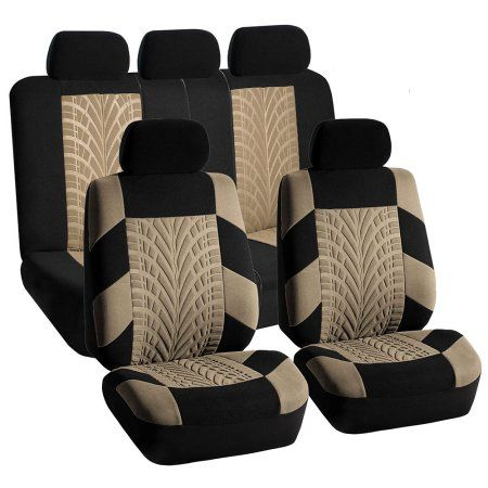 Fh Group Beige And Black Travel Master Side Airbag Compatible Car Seat Covers With Split Bench Function Full Set Walmart Com Beige Seat Covers Jeep Seat Covers Seat Covers